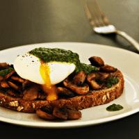 Toast met paddenstoelen, gepocheerde ei en groene kruidenolie