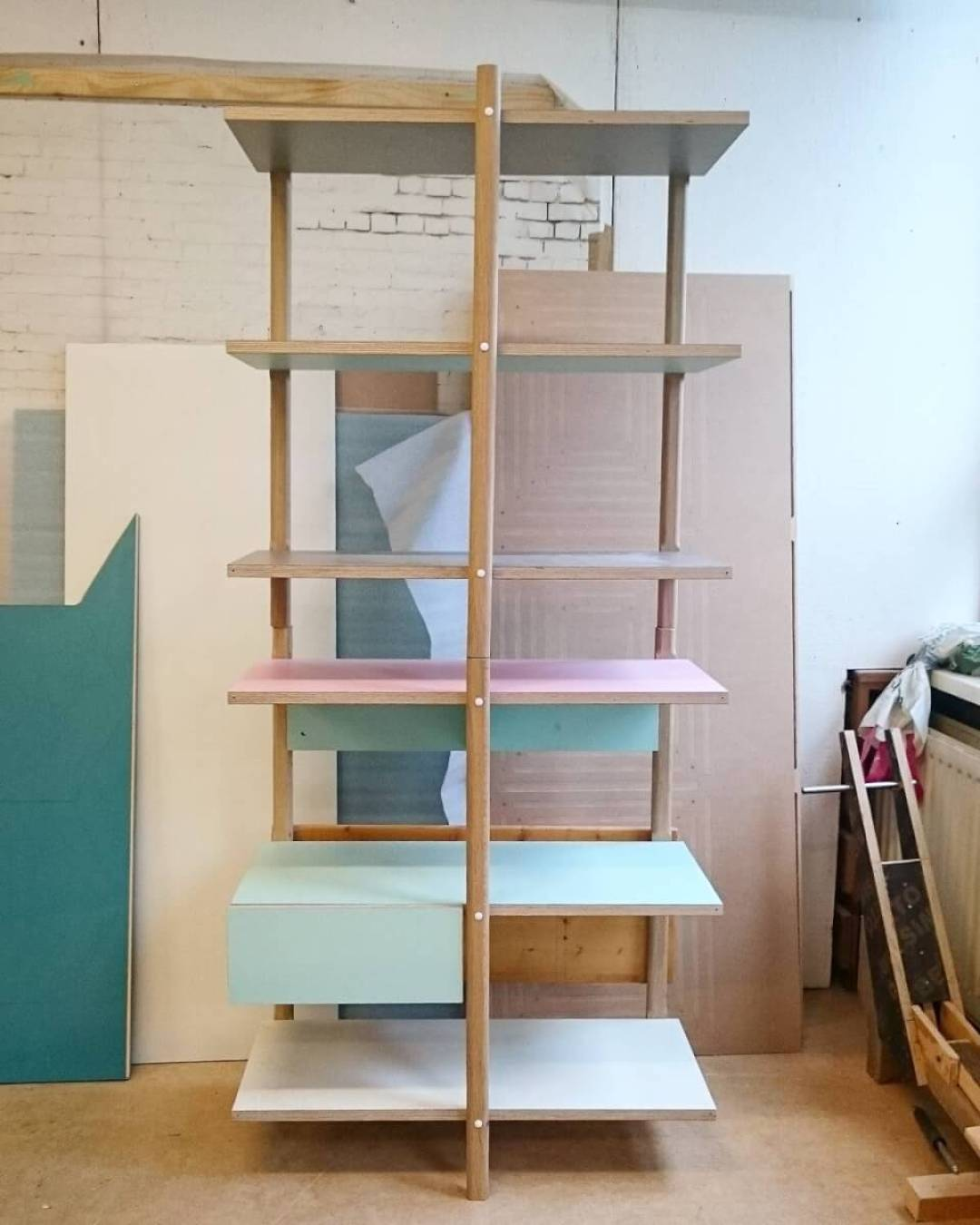 Improvements on the stackable #shelf are nearly #finished #modular #pastel #studiolorier