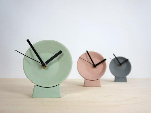 C09-1 Off center clock - studio lorier colors small clock ceramic clock hands