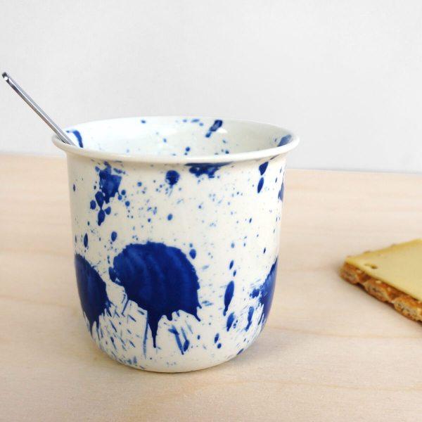 C05-3 splash coffee or tea cup - indigo cup - splatter - espresso cup - porcelain expresso