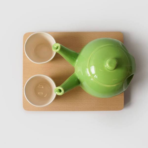 teagether 2015 top view- beech tray - apple green - tea for 2