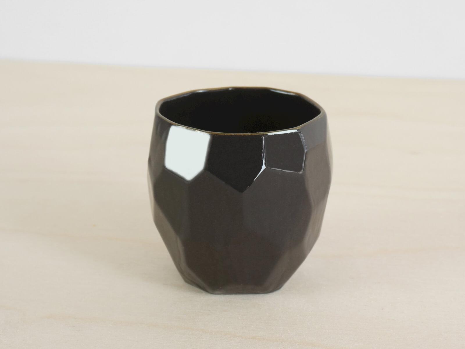 Black Espresso Cup Poligon — Studio Lorier — Black Porcelain Tableware