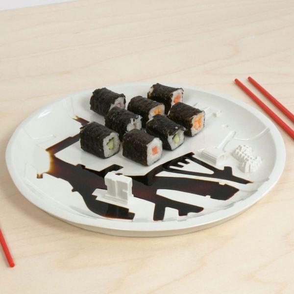 C08 - top iso Shushi rotterdam bebouwde kom - city plate city dish - sushi plate - dish - studio lorier - keys platter - sharing food
