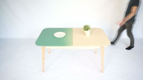 Our extendable dinner table that houses an extra storage compartment