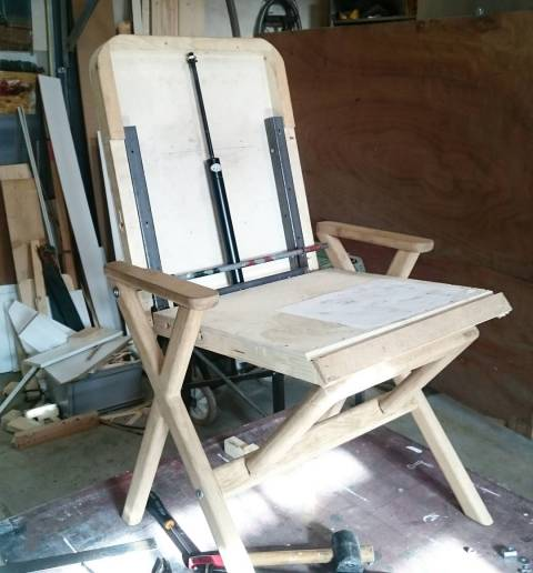 Working on the final adjustment for the Hybrid Chair before production starts