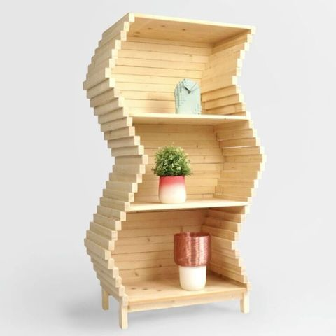 Customize you bookshelf in any shape with the new Wave Bookshelf