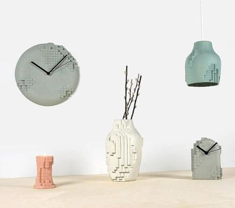 Debut of the Pixel collection in Milan. A critical view of the digital influence and that we need to see a difference beteen the virtual and real life. Collection consists of two clocks, candle holder, vase and pendant lamp @dutchdesignweek @designboom @dezeen @designmilk