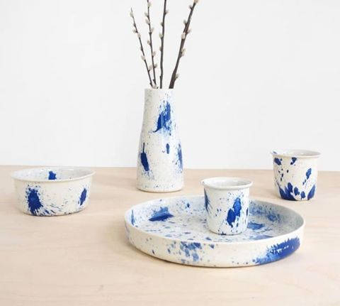 The Splash ceramics. Each has a unique splatter in cobalt. Handmade and non toxic glaze.