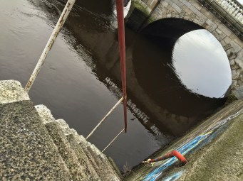 The steepest, scariest stairs, down to the River Liffey.