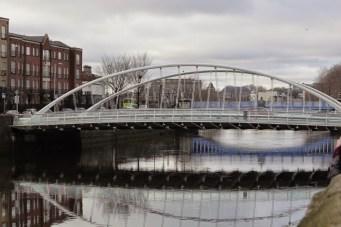 James Joyce Bridge, opened in 2003. River Liffey, Dublin.