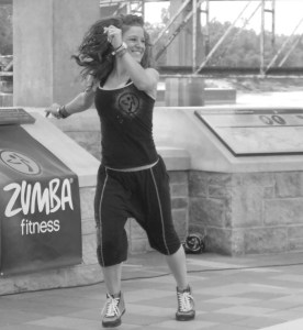 Zumba at Riverfront B&W_crop