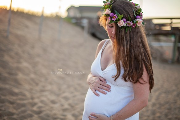 maternity photograph with flower crown, Kitty Hawk Pier, outer banks NC