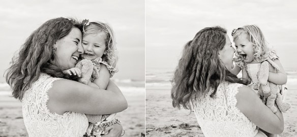 Black and White photo of Mother daughter hugging in Nags Head NC