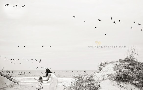 Outer-Banks-Mommy-and-Me-photo-session-with-birds-Nags-Head-NC-family-photographer