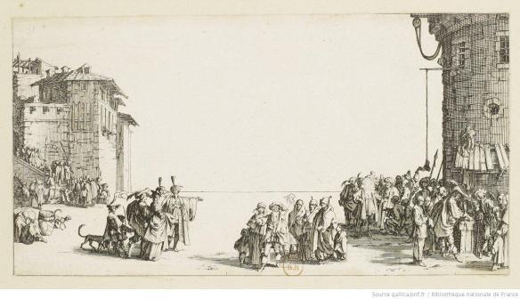 Le marché d'esclaves, estampe, Jacques Callot, 1619-1629