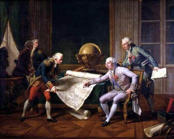 Louis XVI donne ses instructions au Capitaine de Vaisseau de Lapérouse pour son voyage d'exploration autour du monde (1er août 1785 - mars 1788). Peinture de Nicolas Monsiaux (Paris 1754 Paris 1837); Musée de Versailles.