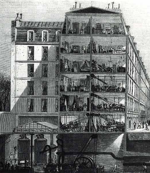 Coupe de la rue des immeubles industriels