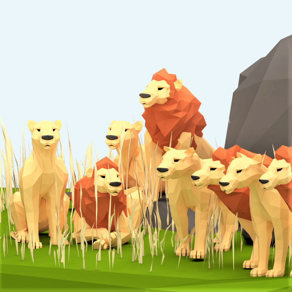low poly 3d model lion scene