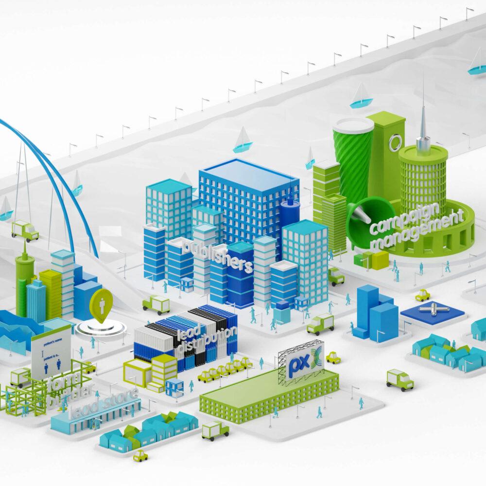 3D render City Illustration