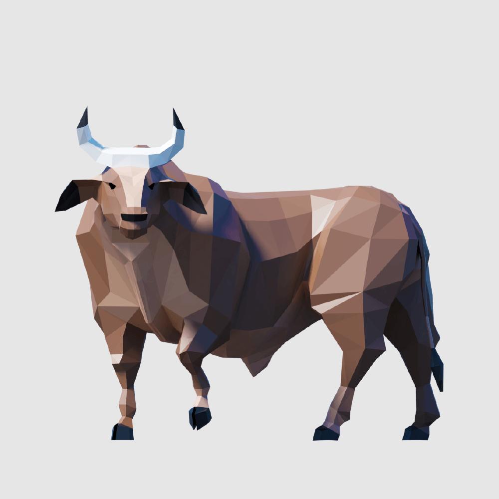 3D render bull lowpoly model