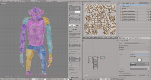 3D render monkey chimpanzee lowpoly model