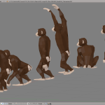 3D render monkey chimpanzee lowpoly model