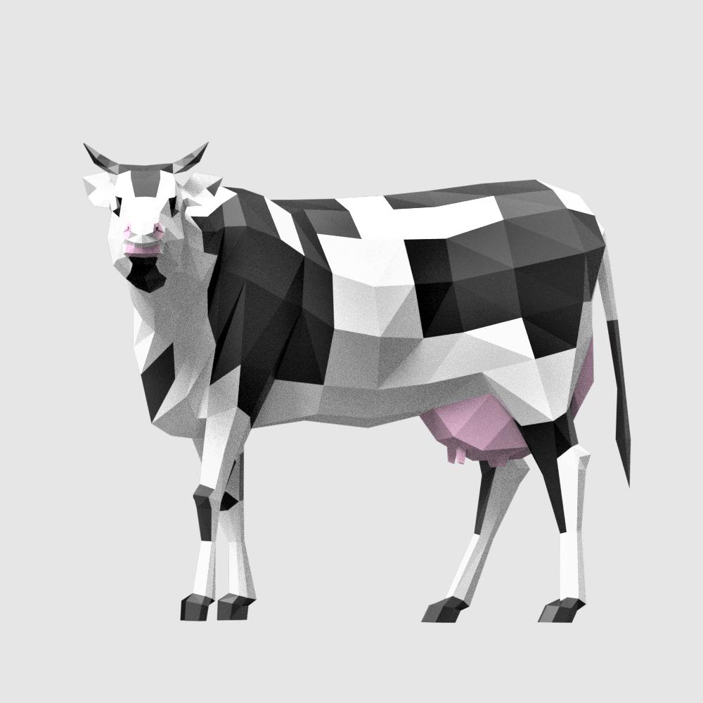 3D render cow lowpoly model