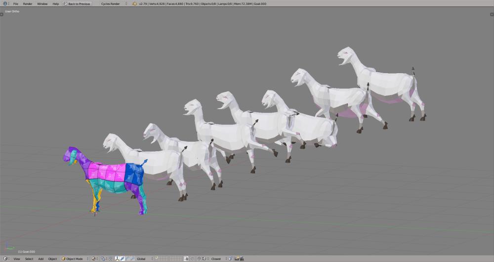 3D render goat lowpoly model