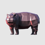 3D render hippo lowpoly model