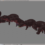 3D render hippo lowpoly model