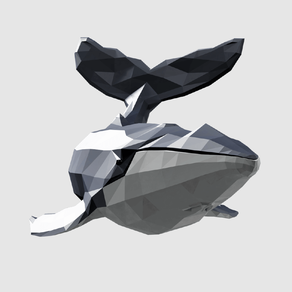 3D render humpback whale lowpoly model