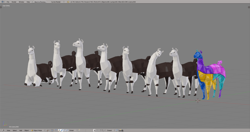 3D render llama lowpoly model