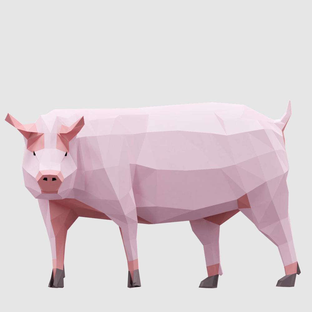 3D render farm pig lowpoly model