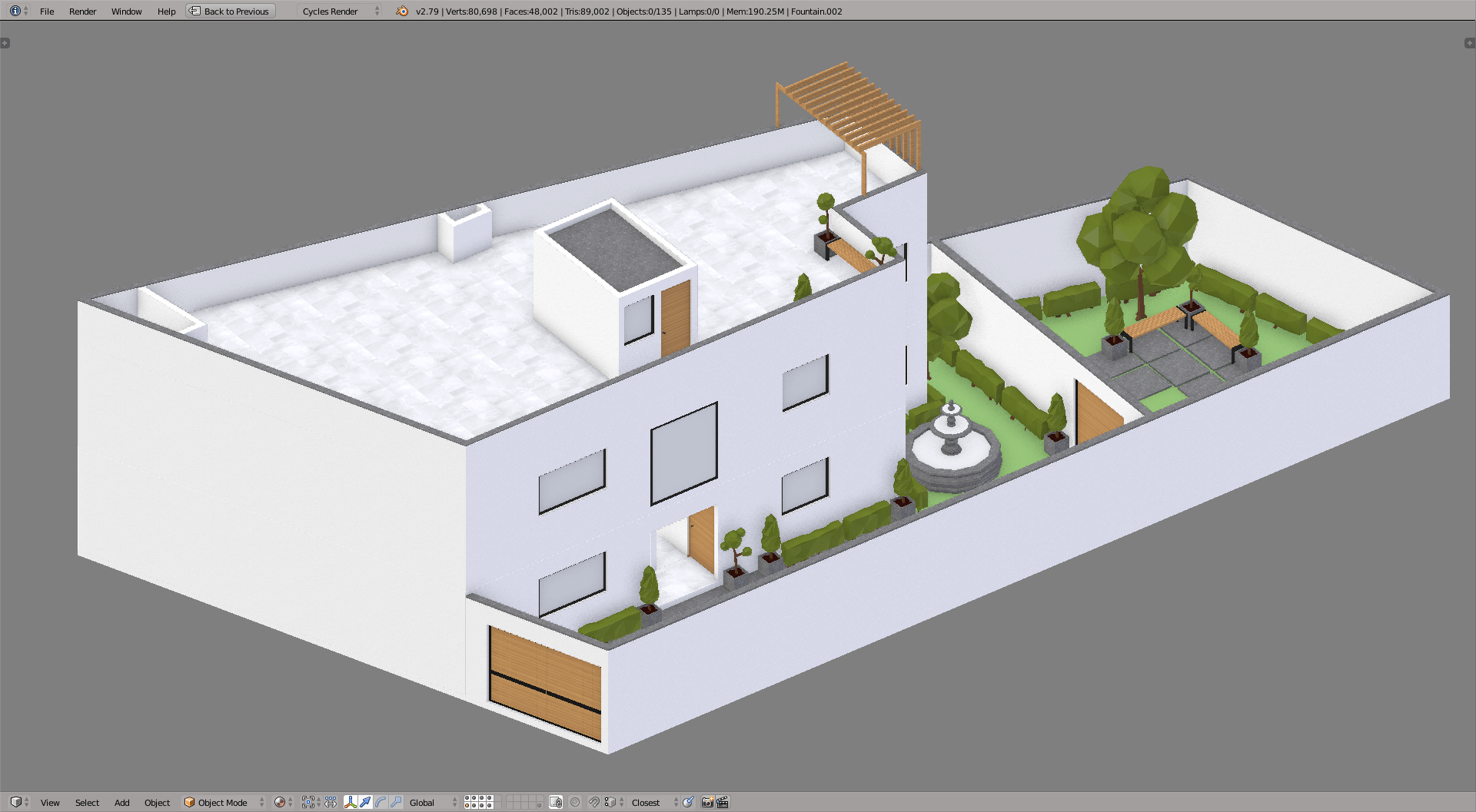 3D model of a lowpoly flats in blender