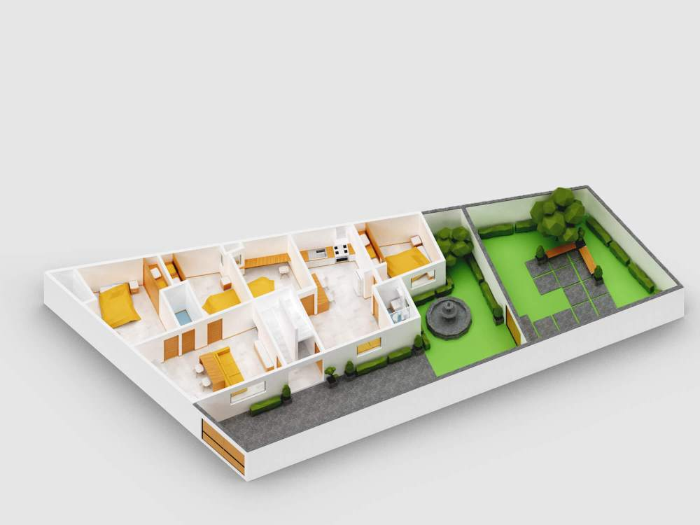 3D render of a lowpoly flats
