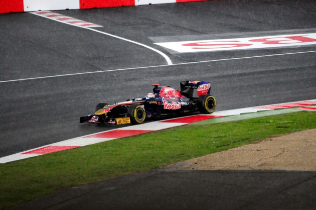 Sébastien Buemi in the Scuderia Torro Rosso STR6 at Silverstone, 2011.
