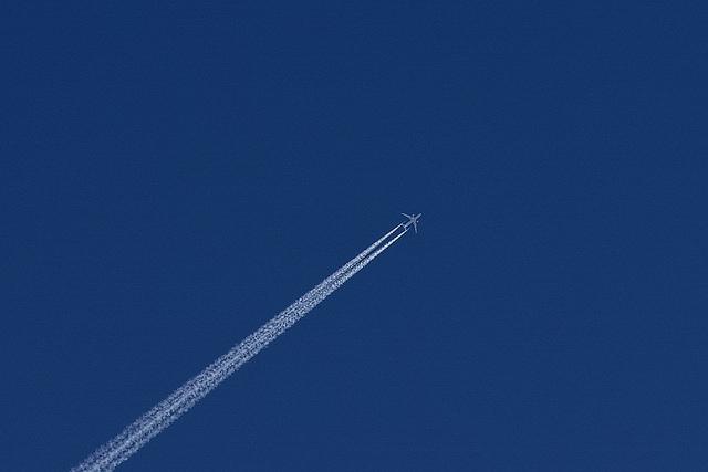 Aeroplane on the blue sky