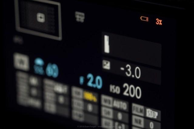 Indicateur de batterie sur l'écran général du X-Pro 2
