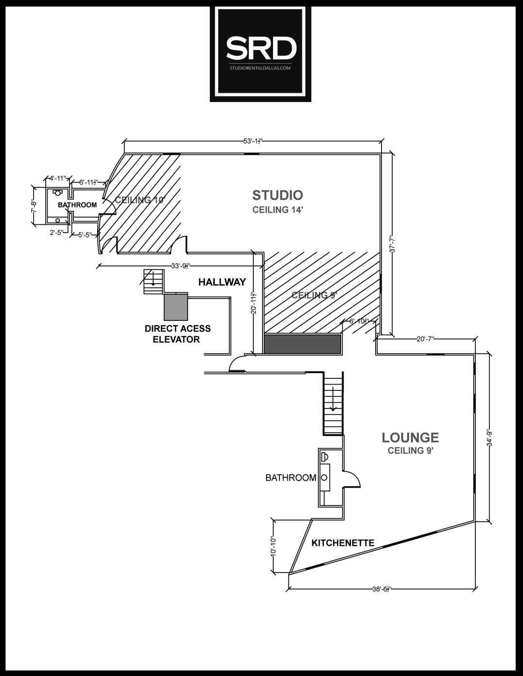 Dallas Studio Rental Floor Plan