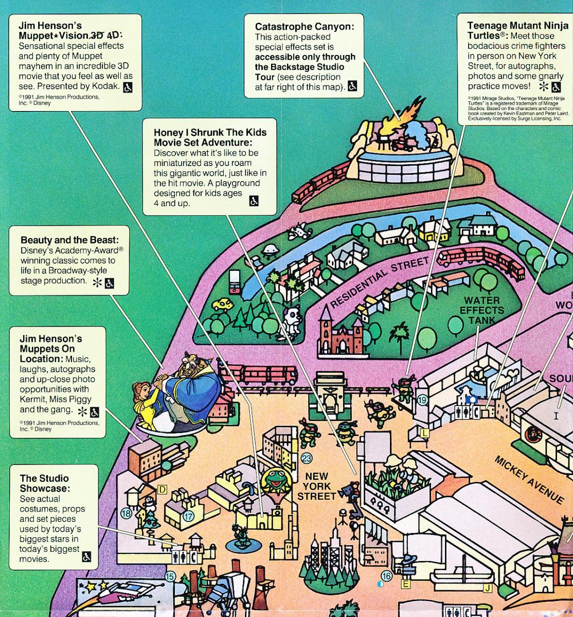 Disney-MGM Studios Park Map from 1993 - studioscentral.com on map of disneyland paris studios, map of pixar studios, map of disney universal studios, map of animation studios,