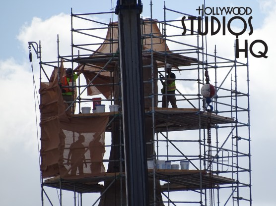 This week imagineers and construction crews were working hard on the planet Batuu of Star Wars Galaxy's Edge. In the pictures and video below, workers were using their painting skills on one of the many mountains on the skyline of Batuu. Likewise, wielding work was also in progress. This early look into the formation stage is the forerunner for next year's completed attraction. Hope you enjoy this look into Batuu. Disney's Hollywood Studios. Photo by John Capos