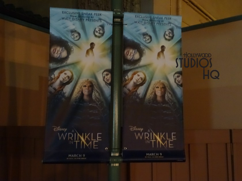 A Wrinkle in Time that is the premiere in the Walt Disney Theater in Walt Disney Presents now has banners on the lightposts outside of the building and now is also featured in the nighttime show Disney Movie Magic.