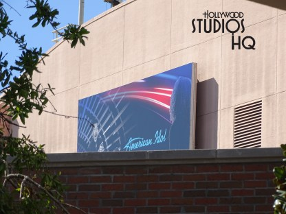 A memorable billboard departs… the original billboard that advertised honey I shrunk the kids, visible to guests since the 1990's, has been replaced with an American idol billboard at Disney's Hollywood Studios. Photo by John Capos