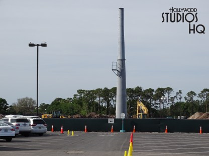 Gondola enthusiasts will notice two additional metal columns in place in the Stage parking section to support the future Skyliner system. General parking lot surface work continues also with dirt moving machinery. Once completed, Skyliner riders will experience a new aerial view of the Studio's iconic attractions like The Twilight Zone Tower of Terror. In addition, construction activity continues day and night on the Skyliner construction at the end of the parking lot where this travel network will transport guests to connect to Disney's Caribbean Beach Resort. Meanwhile, at the Park main entrance, photos below reveal more wood framing and structure in place for the Studio's gondola arrival and departure station. Disney's Hollywood Studios. Photo by John Capos
