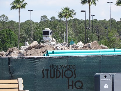 Construction focus remains on the newly paved area opposite the cast members lot with additional construction walls being removed that reveal the progress. A large freshly paved expanse is being finalized. Accordingly, the Stage section is under worker siege with mounds of dirt piled high. New photos below also document continued efforts to complete the new main vehicle entrance. No word yet on this entrance opening date. Disney's Hollywood Studios. Photo by John Capos