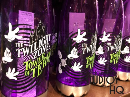 Guests can fill up their park water supply with a new themed purple water bottle available in the Tower Hotel Gifts. Stop by after the accelerated drop dark experience on The Twilight Zone Tower of Terror, which opened by the way back on July 22, 1994. Hold tight with a drop speed of 39 miles per hour. Disney's Hollywood Studios. Photo by John Capos