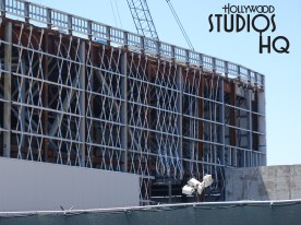 This week's photos below capture workers' efforts to finish back wall enclosures on two main buildings, while numerous unfinished structure and landscape peak shells await further refinement. Workers were spotted in a high reach lift attaching steel structures. Clusters of construction vehicles still surround the Planet on ground level. Disney's Hollywood Studios. Photo by John Capos