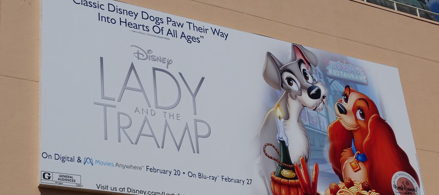 Guests will notice on their walk to Pixar Place that one of the two giant billboards behind the Chinese Theatre now promotes the Lady and the Tramp Blu-Ray /DVD release that occurred back in February of this year. The Last Jedi motion picture billboard has given way to the giant images of these two beloved characters from this favorite Disney Classic. Disney's Hollywood Studios. Photo by John Capos