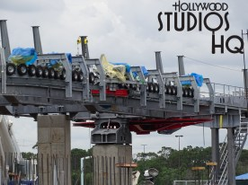 The much anticipated Skyliner guest transportation system continues to progress at a rapid pace, as additional tire shaped guide wheels were positioned high above to guide arriving and departing gondolas. Multiple rubber wheels just installed this week on the support structure will power the themed gondola units in and out of the Park station and are pictured below. Disney's Hollywood Studios. Photo by John Capos.
