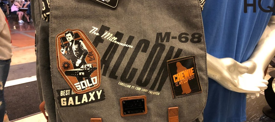 Colorful Mighty Wookie, Solo, and Falcon Freighter themed tee shirts are now awaiting shoppers here at Legends of Hollywood. Also, guests will likely flock to the New Han Solo and Chewie costume detailed shirts that have also just arrived. This costumed design selection will give any adult size fan an authentic actor look. Complement any new apparel with a Millennium Falcon wallet or backpack. Disney's Hollywood Studios. Photo by John Capos